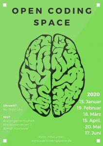 """Plakat, das den """"Open Coding Space"""" bewirbt."""
